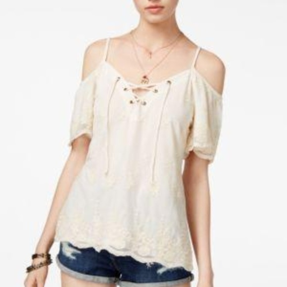 American Rag Juniors Embroidered Cold-Shoulder Top